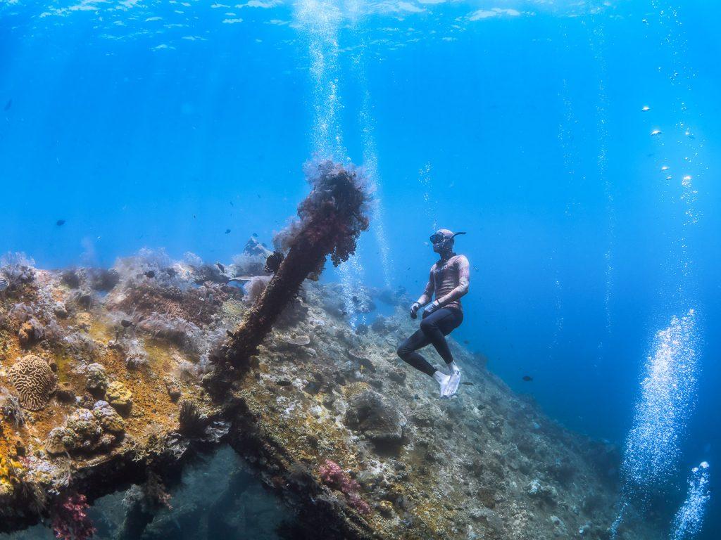 No fins freediving on Liberty shipwreck Bali